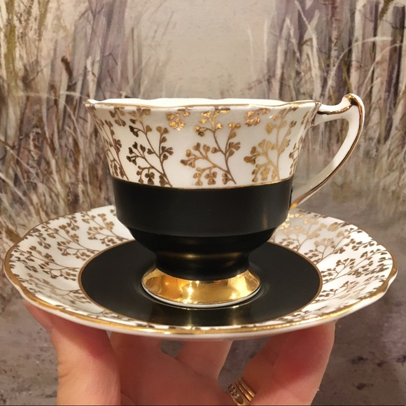 Vintage Gladstone Black and Gold Tea Cup & Saucer